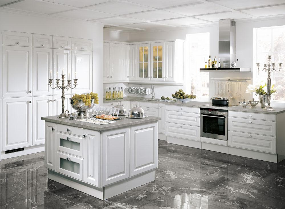 cocina de estilo clásico blanca